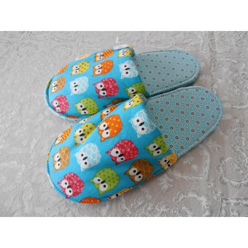 "Chaussons mules enfants T31-32 ""chouettes"" turquoise"