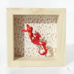 cadre origami hyppocampe rouge 2