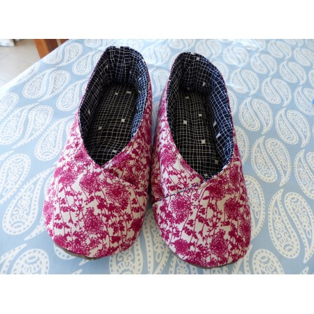 "Chaussons femme kimono ""feuillage rose fin"""