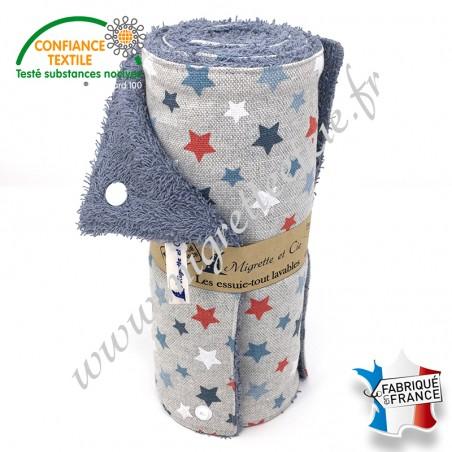 Essuie-tout lavable, coton imprimé Astro glacier façon Lin, éponge de coton