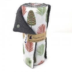 Essuie-tout lavable, coton imprimé feuilles, éponge grise