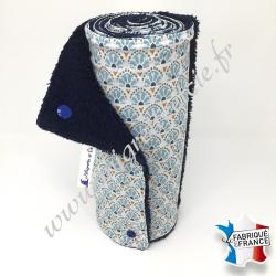 Essuie-tout lavable, coton imprimé Manco, éponge bleu nuit