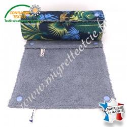 Essuie-tout lavable, coton imprimé Jangal, éponge bleu clair