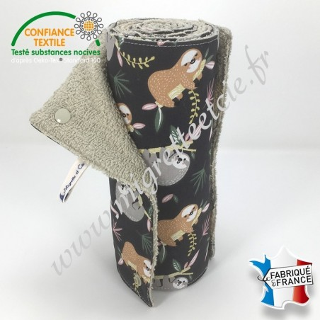 Essuie-tout lavable, coton imprimé Lazare, éponge de coton Sable - Migrette et Cie